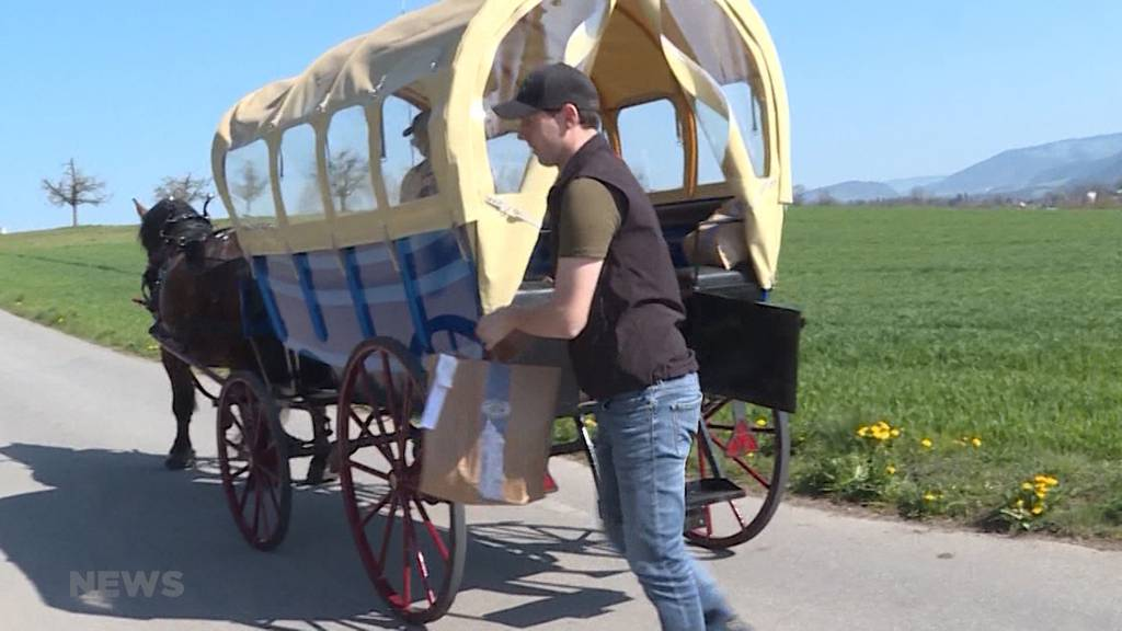 Gemüselieferung mit Pferd und Wagen