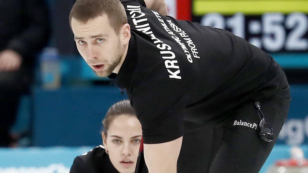 Steht unter Dopingverdacht: Der Russe Alexander Kruschelnizki, der in Pyeongchang zusammen mit seiner Partnerin Anastasia Brysgalowa im Mixed-Curling Bronze gewann.
