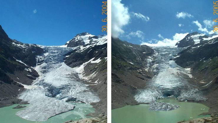 Der Triftgletscher bei Gadmen schrumpfte von 2004 bis 2005 so deutlich, dass man es von blossem Auge sehen kann.