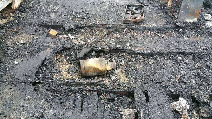 Autowracks nach dem Brand