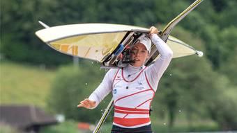 Skiff-Europameisterin Jeannine Gmelin nach dem Training auf dem Rotsee.