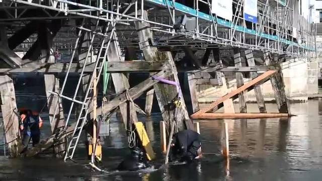 Sanierungd der Oltner Holzbrücke im Februar 2019
