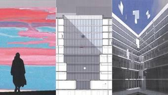 Die drei Kunstprojekte, die ausgesucht wurden. Einmal wird es eine Wand geben, die beiden anderen schmücken die Innenhöfe.