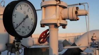Druckmessgerät an einer Pipeline für Gas aus Russland nahe Kiew