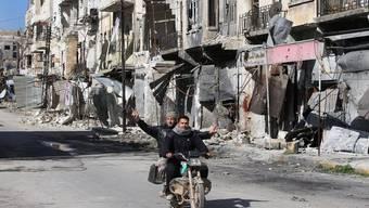 Kriegszerstörungen in Maarat al-Nuaman in der nordsyrischen Provinz Idlib