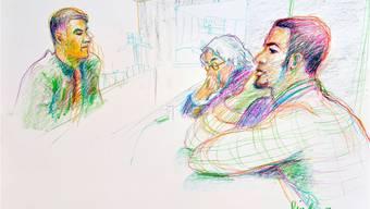 «Carlos» und sein Verteidiger vor dem Richter (v.r.) beim  Prozess in Dietikon.