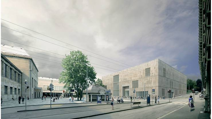 Kunsthaus/Heimplatz: Die Stadt trennt die Projekte Kunsthaus-Erweiterungsbau und Platzgestaltung, die der Architekt David Chipperfield in seinem Entwurf (Bild) gewagt vereinte. (Visualisierung zvg)