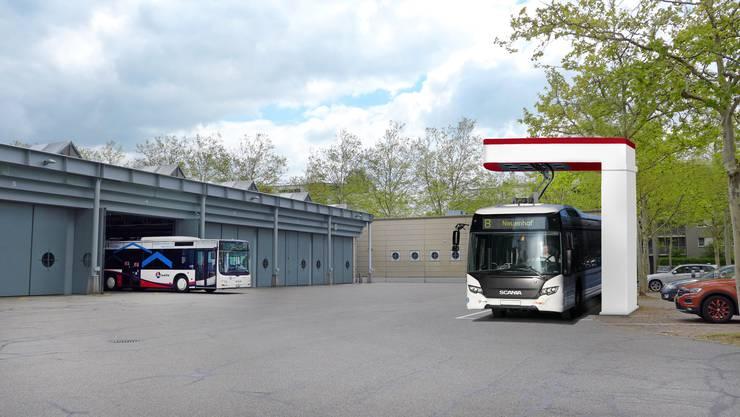 Visualisierung der geplanten Ladestation in Wettingen für einen batteriebetriebenen Bus. Der Versuch auf der Linie 8 wird zeigen, wie ausgereift die Technologie ist.