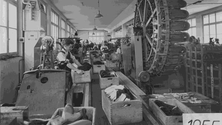 Ammann war neben Bally und Fretz einer der Schuhproduzenten im Raum Aarau (Bild 1955).