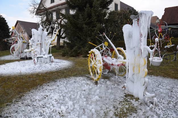 Bilder von der Kälte im Freiamt, der Tingueli-Park von Schnyderli-Toni in Sarmenstorf und der Weiher in Unterniesenberg