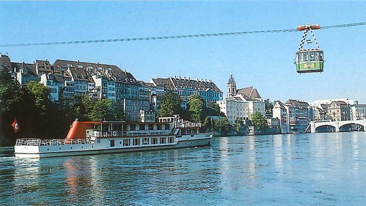 Zur 600-Jahr-Feier «Gross- und Kleinbasel zusammen» verband im Sommer 1992 eine Seilbahn im Drämmli-Look die beiden Rheinufer.