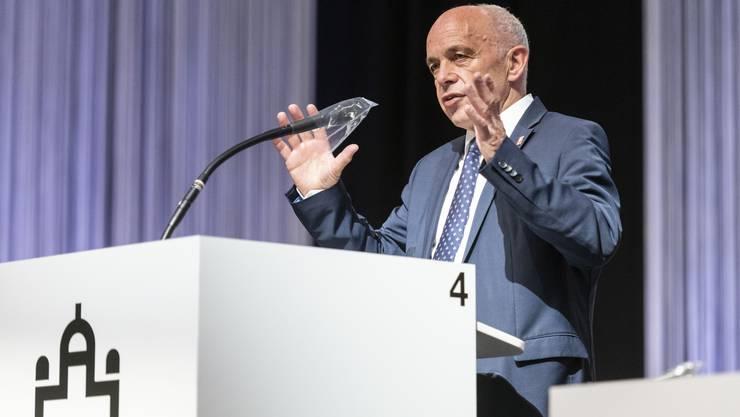 Finanzminister Ueli Maurer, als er am Montag in den Berner Bea-Hallen zum Nationalrat sprach.
