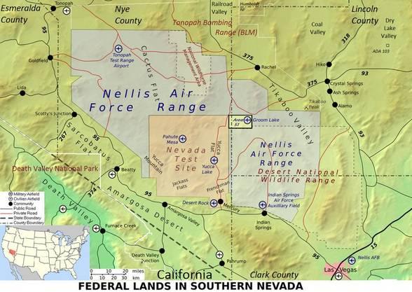 Die Area 51 liegt innerhalb der Nellis Range im Süden des Bundesstaats Nevada. (Karte: nsarchive2.gwu.edu)