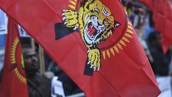 Sympathisanten der Tamil Tigers demonstrierten zum Auftakt des Prozesses am Bundesstrafgericht in Bellinzona. (Archivbild)