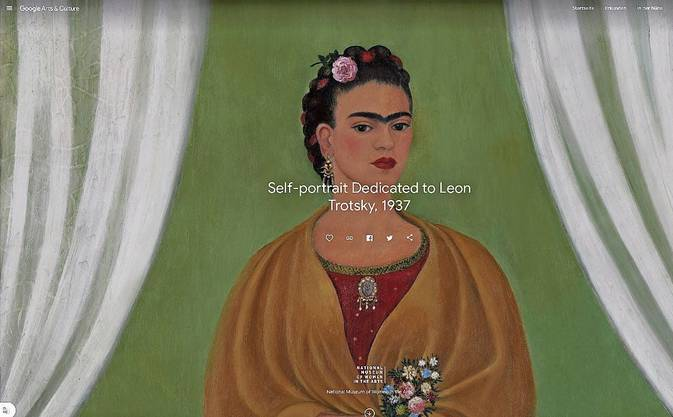 Im National Museum of Women in the Arts in Washington DC entdeckt: «Self-Portrait Dedicated to Leon Trotsky» von Frida Kahlo – samt Tutorial über das Gemälde von 1937.