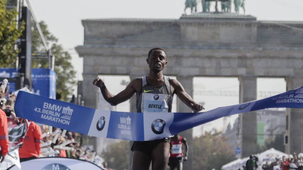 Der Äthiopier Kenenisa Bekele verpasste bei seinem Triumph in Berlin den Marathon-Weltrekord um lediglich sechs Sekunden