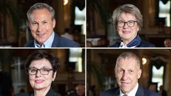 Adrian Amstutz (o.l.), Corina Eichernberger (o.r.), Anita Fetz (u.l.), und Konrad Graber (u.r.) verlassen den Ständerat.