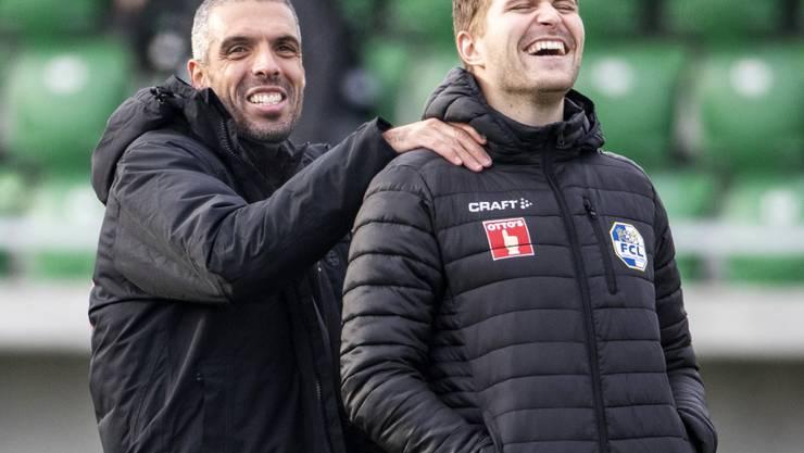 Der Luzerner Cheftrainer Fabio Celestini (links) wird sich wohl auf den früh zurückgetretenen Claudio Lustenberger verlassen können