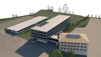 Das mittige Gebäude hat aktuell zwei Stockwerke, zwei neue kommen nun dazu. Dahinter entsteht eine Einstellhalle für die Autos der Mitarbeiter.
