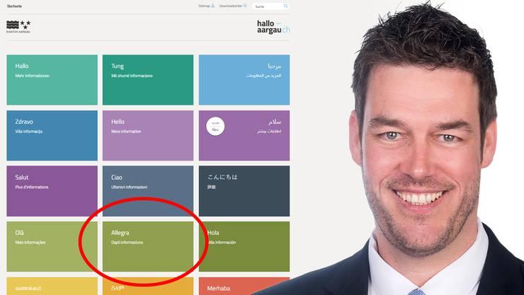 SVP-Grossrat Christoph Riner störte sich, dass auf der Website die vierte Landessprache fehlte.
