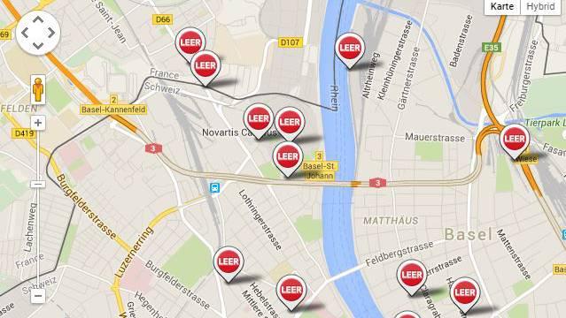 Ein Ausschnitt aus der Karte der Region Basel.