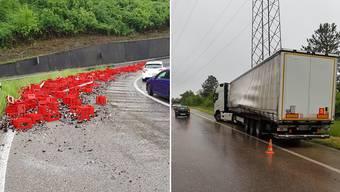 Dieser Lastwagen hat viel Bier verloren