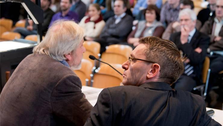 Die Spitzen des Staatspersonalverbandes, Beat Käch (l.) und Pirmin Bischof, finden bei den Kantilehrern offene Ohren.