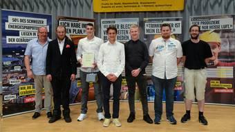 Gebäudetechniker: Thomas Kläy, Präsident Suissetec Solothurn; Marcel Wyss, Sanitär-Heizungs Weltmeister 2017; Danijel Petraskovic (1. Rang Heizungsinstallateure EFZ und Suissetec Solothurn Champion 2018); Luk Hess (1. Rang Sanitärinstallateure EFZ); Sven Thomas Bachmann (1. Rang Haustechnikpraktiker EBA); Jan Zürcher (1. Rang Gebäudetechnikplaner EFZ); Claudio Treier(1. Rang Lüftungsanlagebauer EFZ, Werkstatt).