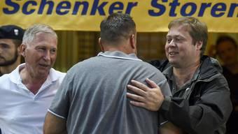 Alfred Schmid (links) und Philipp Bonorand hoffen auf die Ligavergrösserung in der Super League