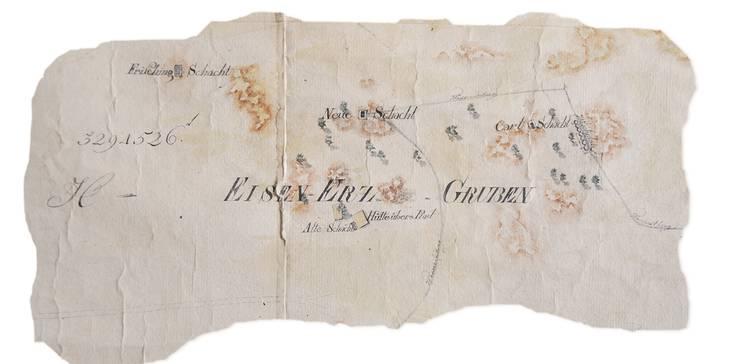 Diese Karte mit den Erzgruben stammt von 1795.