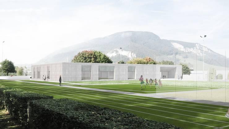 So soll sich die Oensinger Sportstätte in einem Jahr präsentieren. Die Tartanbahn wird in Grün gehalten, damit sie sich aus erhöhter Lage besser in die Landschaft integriert.