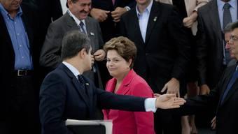 Präsidentin Roussef bei ihrem Empfang im Brasilien-Pavillon in Rio