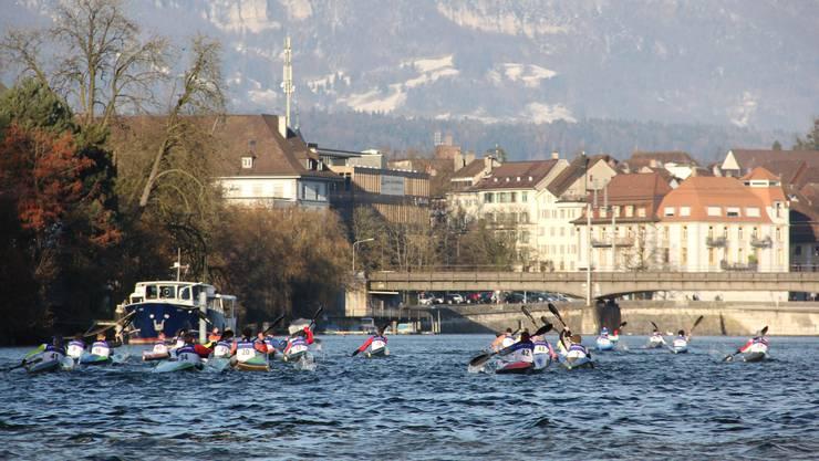 Pittoreske Kulisse: Die Aare bei Solothurn mit der Altstadt und dem Jura im Hintergrund.
