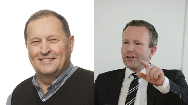 Walter Gurtner (links) kritisiert Parteipresidänt Silvio Jeker wegen seinem Entscheid, FDP Regierungsratskandidatin Marianne Meister ohne Bedingungen zu Unterstützen