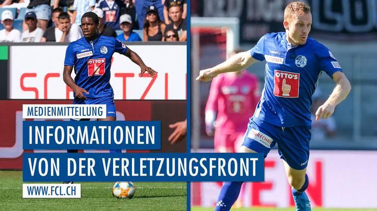 Der FC Luzern muss mehrere Wochen auf die beiden Spieler Tsiy Ndenge (l.) und Christian Schwegler (r.) verzichten.