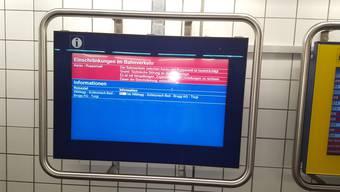 Wegen einer technischen Störung ist auf der Strecke zwischen Aarau und Rupperswil derzeit mit Verspätungen zu rechnen.
