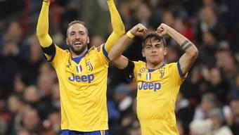 Juves-Torschützen im Londoner Wembley: Gonzalo Higuain und Paulo Dybala