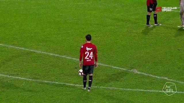 Challenge League 2018/19, Runde 17, FC Aarau - Vaduz, Lattenschuss Petar Misic