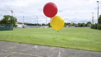 Zwei Ballone einer Protestaktion: Hier hätte die Halle zu stehen kommen sollen.