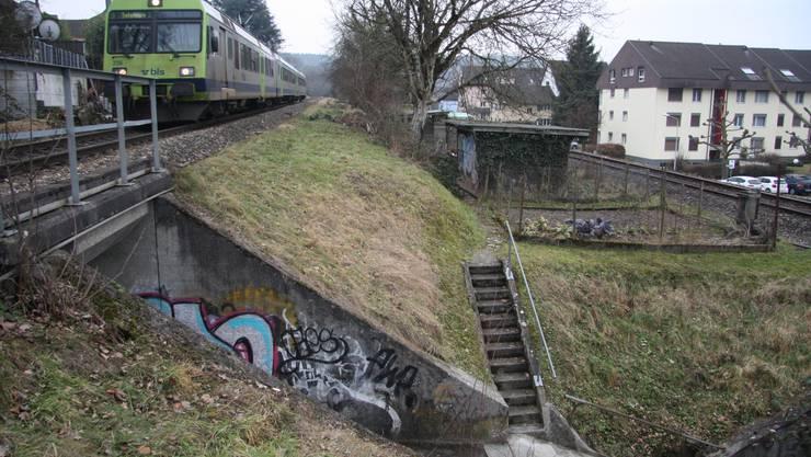 Zwischen der noch im Betrieb befindlichen BLS-Strecke und dem stillgelegten SBB-Gleis liegen Schrebergärten.
