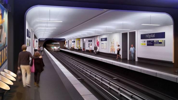"""Implenia mit Grossauftrag: Visualisierung der neuen Metrostation """"Hôpital""""."""