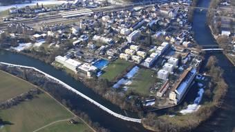 Die Luftaufnahme von Turgi im Februar 2013 zeigt die Überbauungen und den alten Kern. Franz Killer