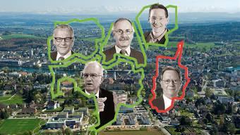 Das Fusions-Mosaik: (Obere Reihe) Kurt Fluri - Solothurn, Stefan Hug - Zuchwil, Michael Ochsenbein - Luterbach, (Untere Reihe) Martin Blaser - Biberist und Kurt Tschumi - Derendingen
