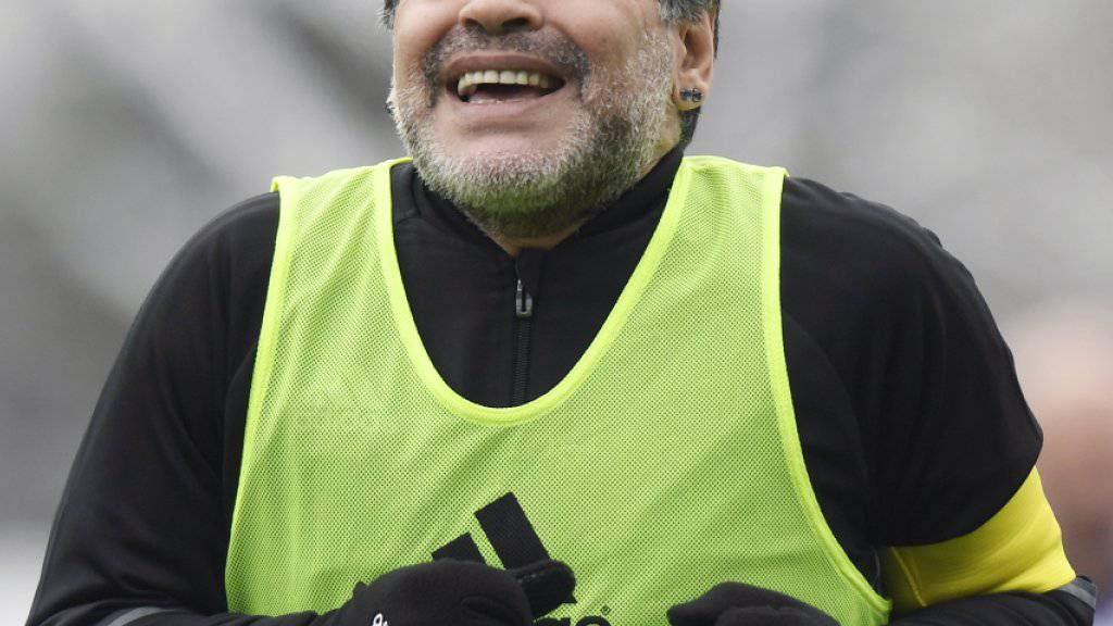 Diego Maradona während des Legenden-Spiels am Rand der FIFA-Gala in Zürich