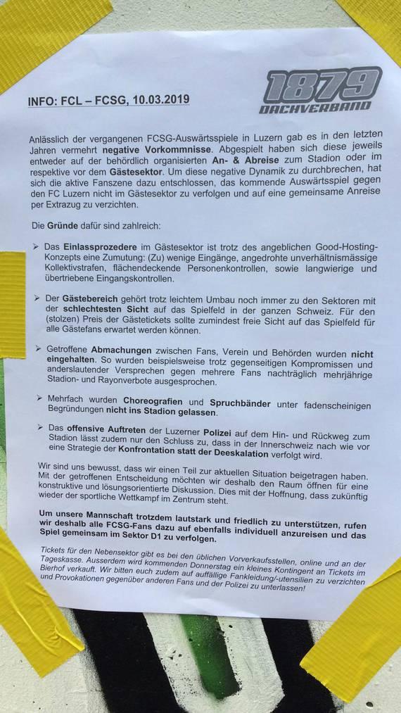 Am letzten Heimspiel in St.Gallen rief der Dachverband 1879 zur Protestaktion auf. (Bild: zVg)