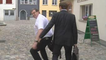 Malm mit seinem Anwalt nach der Gerichtsverhandlung von vergangenem Mittwoch in Bremgarten