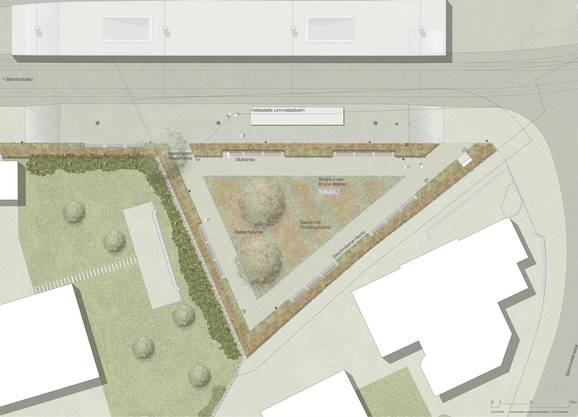 Auf der freiwerdenden Fläche soll ein neuer, fast 650 Quadratmeter grosser Park für die Bevölkerung entstehen. Im Bild: der Plan für die Parkanlage.