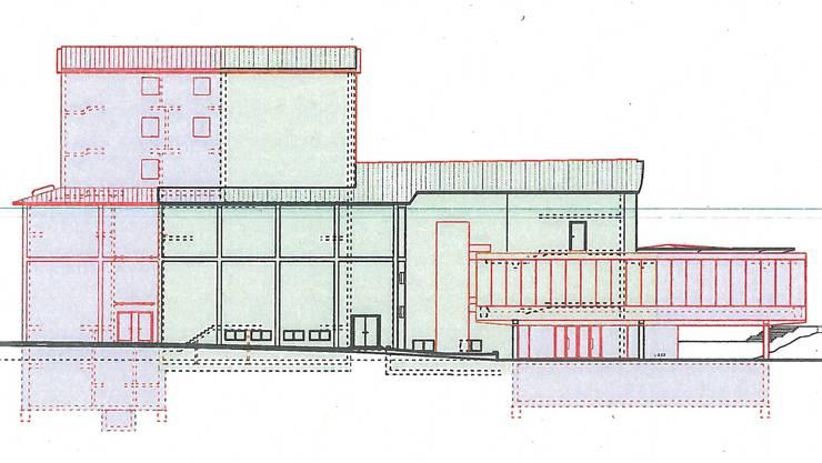Projektansicht von der Parkstrasse: Anbau Hinterbühne mit Probebühne (l.), bestehender Teil, Erweiterung Bölsterli-Foyer (r.).