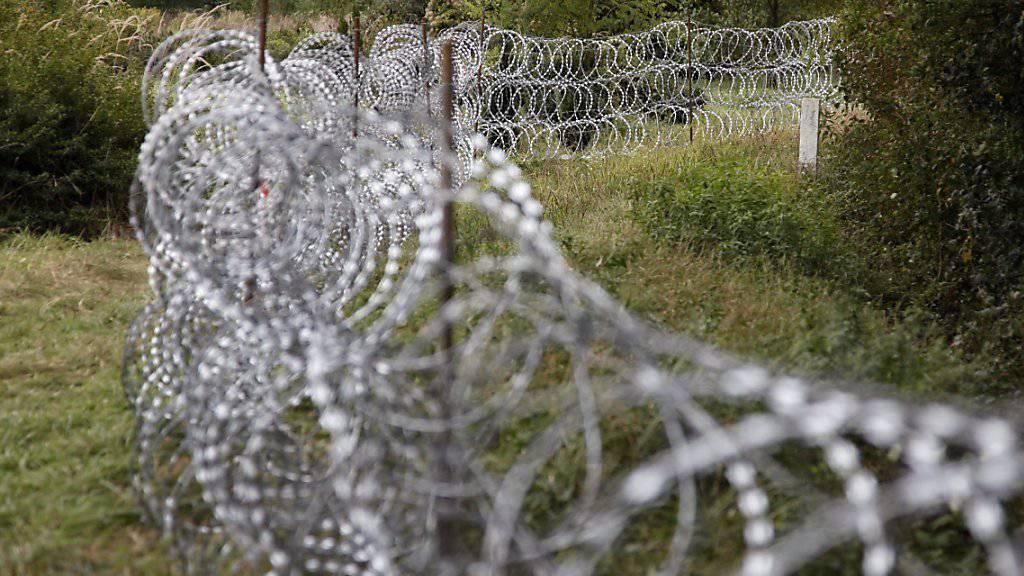 Teil des Grenzzauns an Ungarns grüner Grenze zu Kroatien
