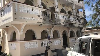 Das angegriffene Hotel in Kismayo in Somalia.